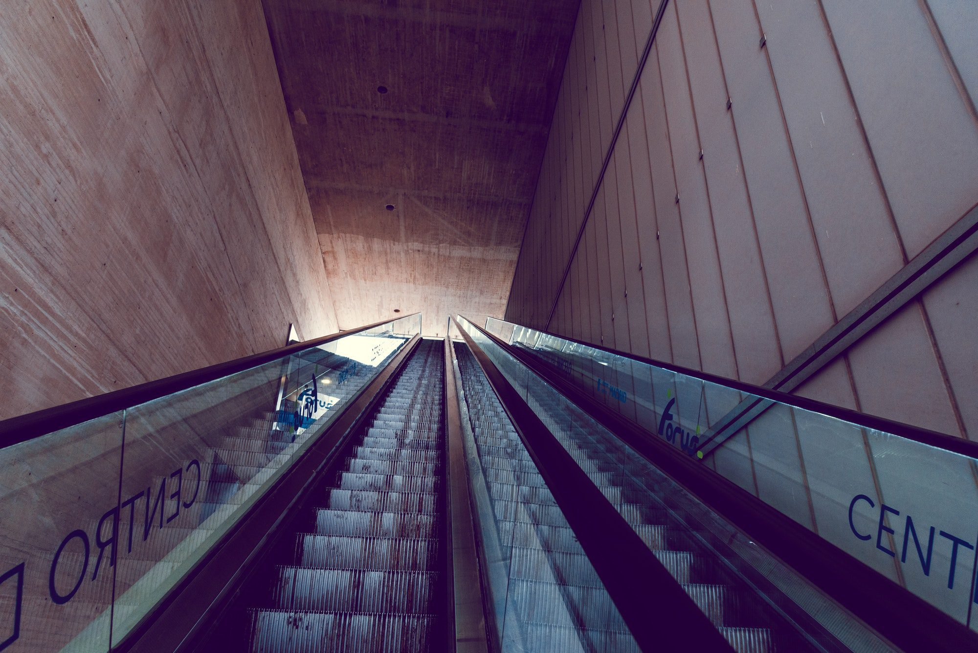 View of escalators to rooftop bar in Barcelo Market in Madrid